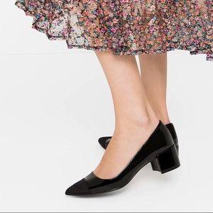 Zara Black Cap Toe Chunk Heel